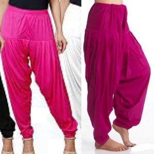 Hot pink silk harem pants